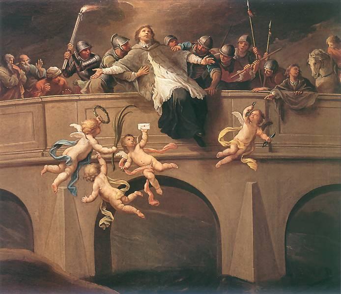Martirul lui Ioan Nepomuk imaginată de pictorul polonez Szymon Czechowicz.