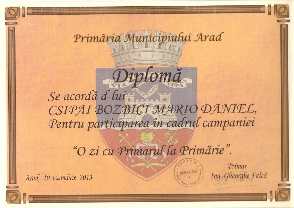 "Diploma de la ""O zi cu primarul"""