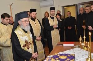 Arhiepiscopul Aradului la inaugurarea biroului la 30 noiembrie 2013.