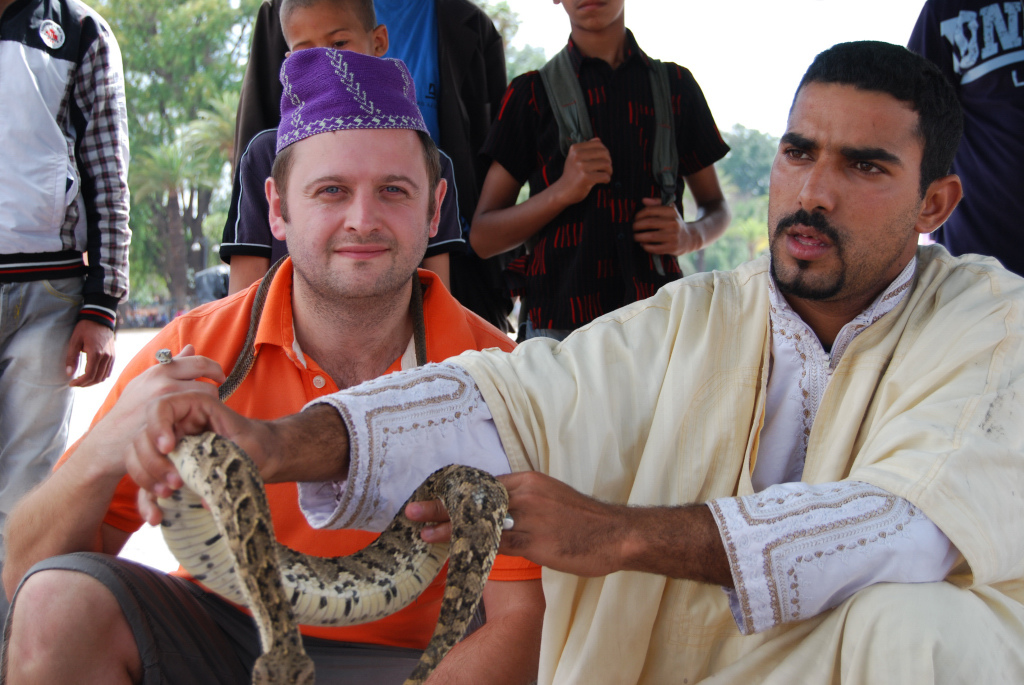 Handling the snakes in Marrakech, Morocco