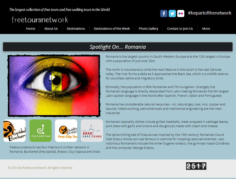 Promoting Romania on freetoursnetwork.com